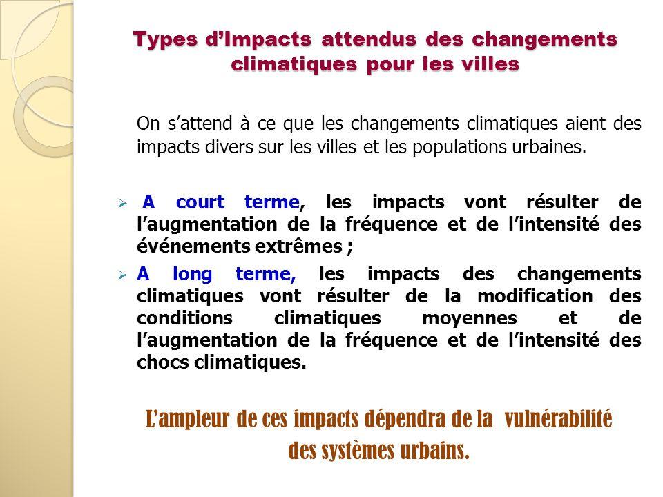 Types d'Impacts attendus des changements climatiques pour les villes
