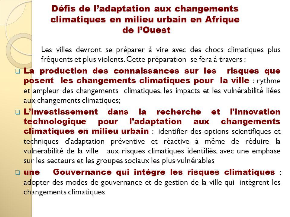 Défis de l'adaptation aux changements climatiques en milieu urbain en Afrique de l'Ouest