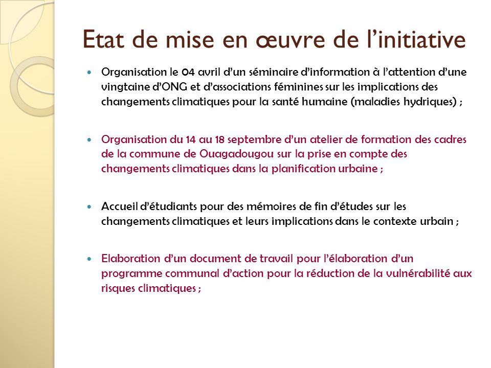 Etat de mise en œuvre de l'initiative