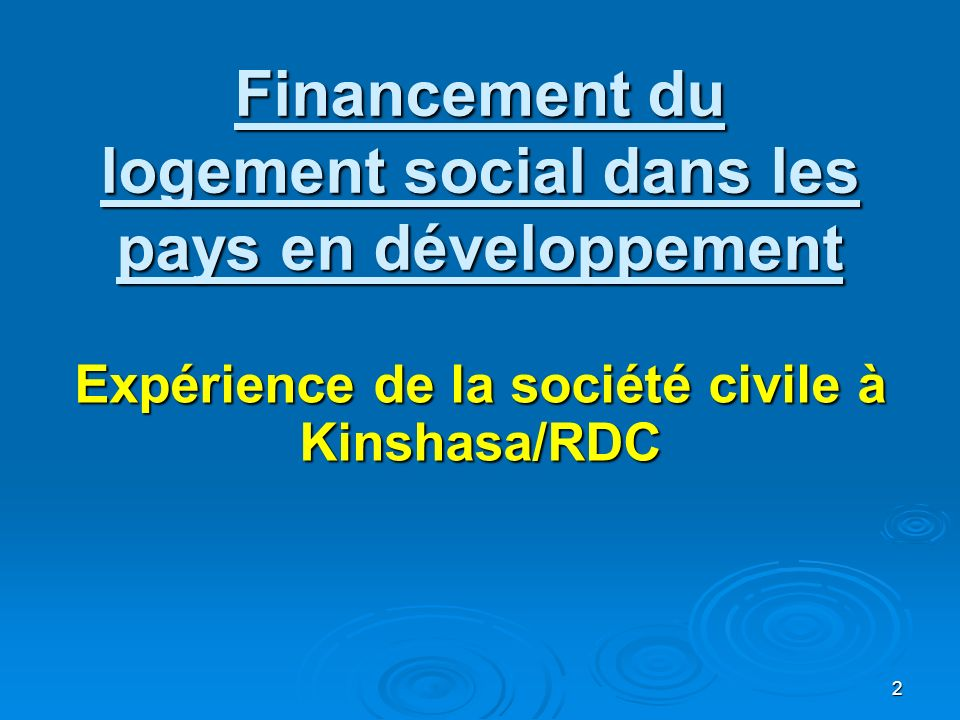 Financement du logement social dans les pays en développement