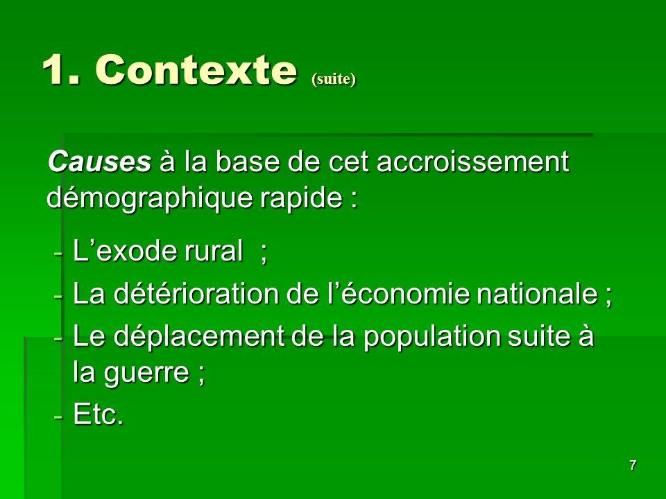1. Contexte (suite) Causes à la base de cet accroissement démographique rapide : L'exode rural ; La détérioration de l'économie nationale ;