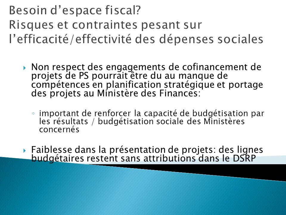 Besoin d'espace fiscal