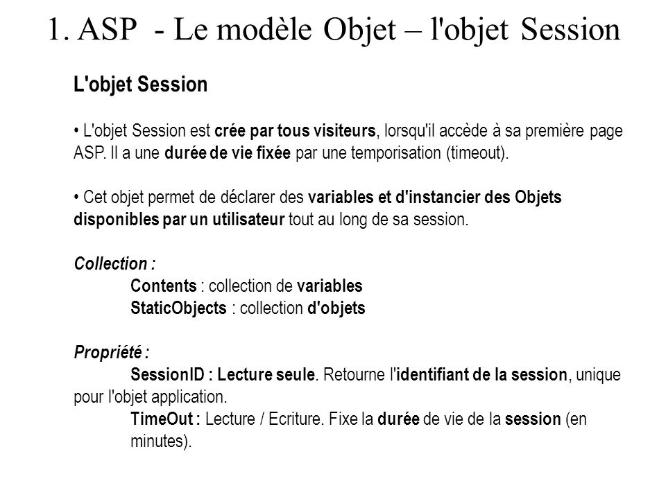 1. ASP - Le modèle Objet – l objet Session