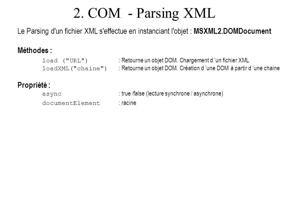 2. COM - Parsing XML Le Parsing d un fichier XML s effectue en instanciant l objet : MSXML2.DOMDocument.