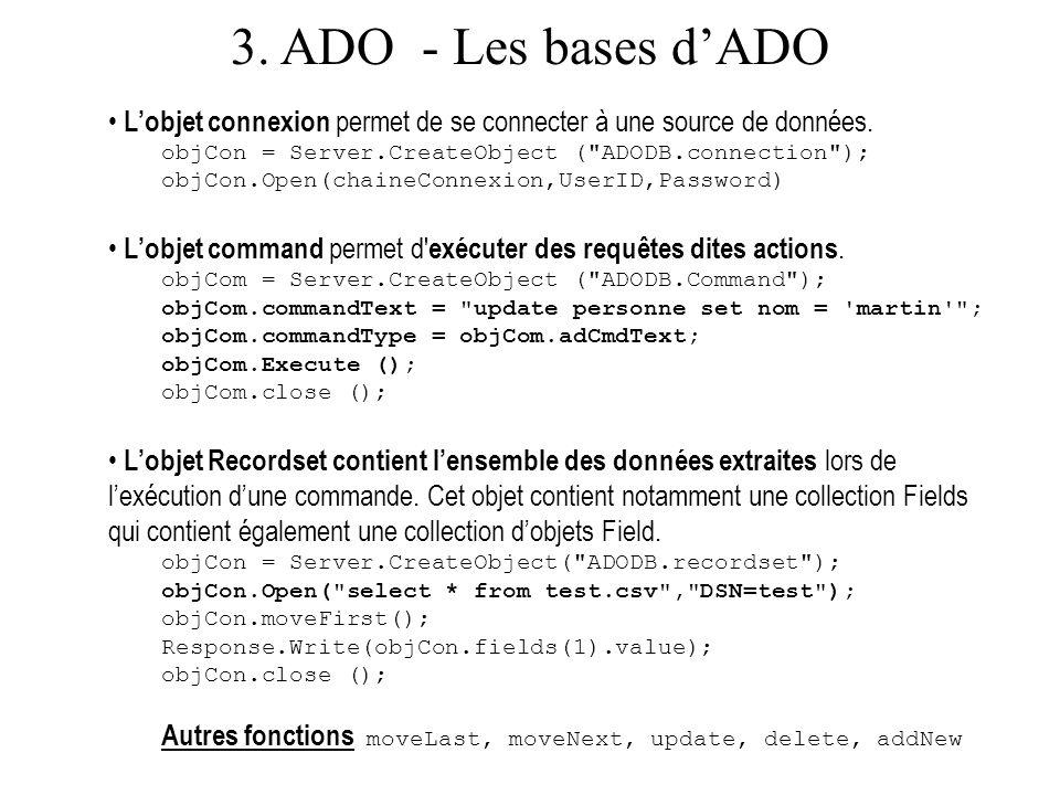 3. ADO - Les bases d'ADO L'objet connexion permet de se connecter à une source de données. objCon = Server.CreateObject ( ADODB.connection );