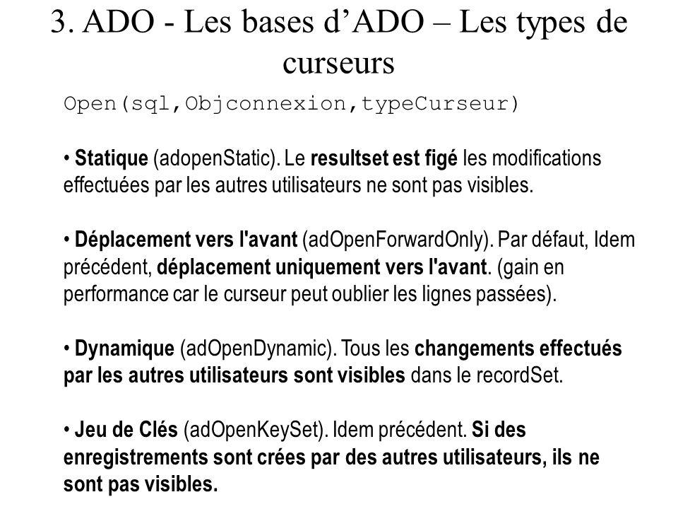 3. ADO - Les bases d'ADO – Les types de curseurs