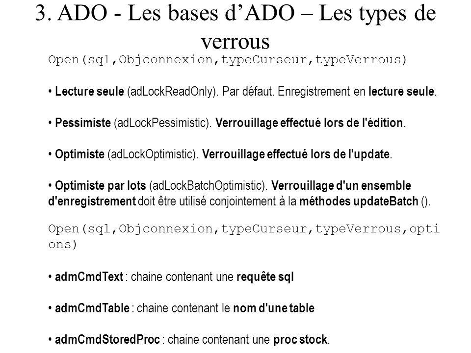 3. ADO - Les bases d'ADO – Les types de verrous