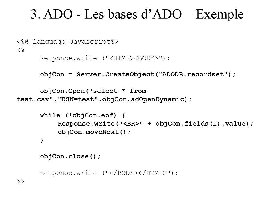 3. ADO - Les bases d'ADO – Exemple