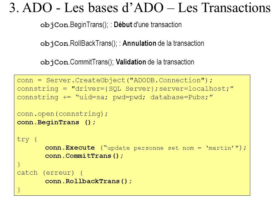 3. ADO - Les bases d'ADO – Les Transactions