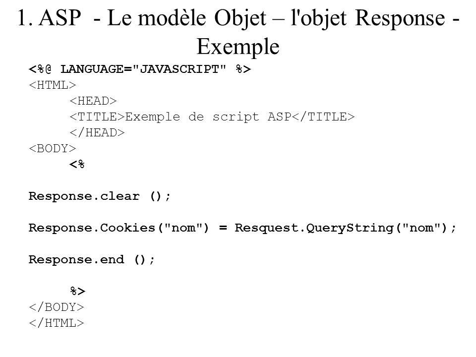 1. ASP - Le modèle Objet – l objet Response - Exemple