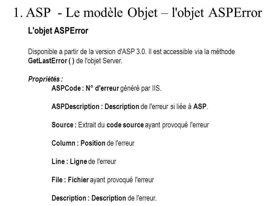 1. ASP - Le modèle Objet – l objet ASPError