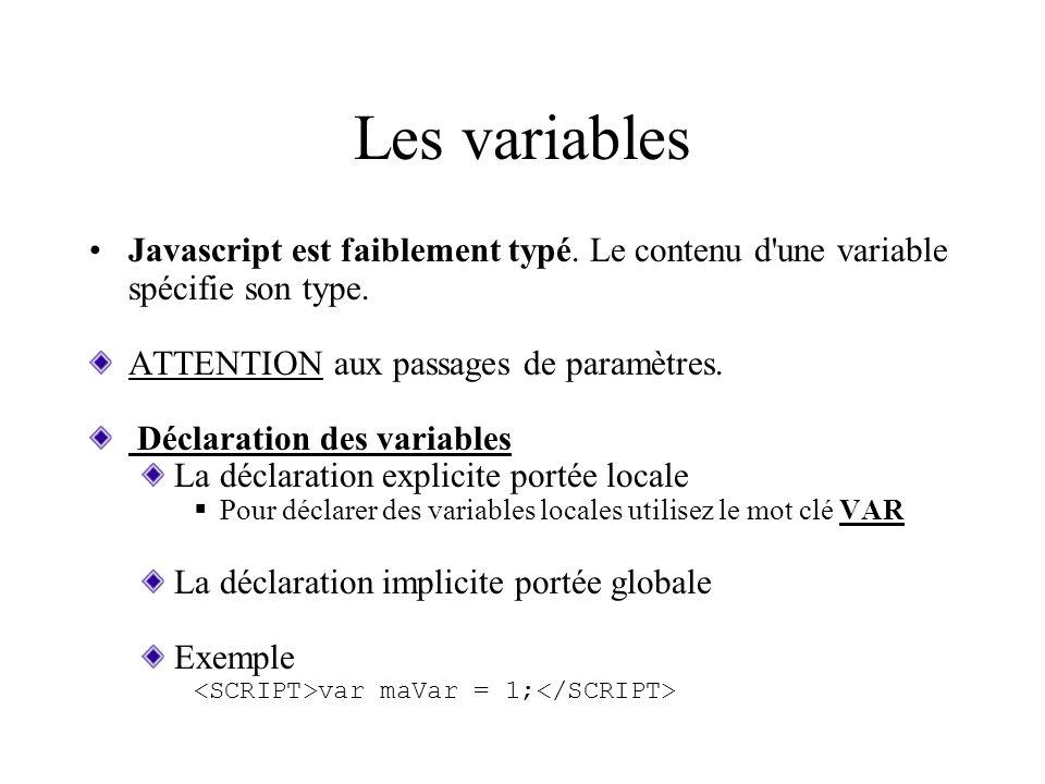 Les variables Javascript est faiblement typé. Le contenu d une variable spécifie son type. ATTENTION aux passages de paramètres.