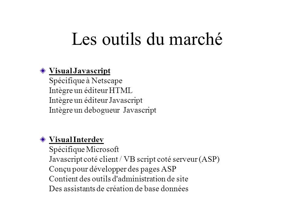 Les outils du marché Visual Javascript Spécifique à Netscape