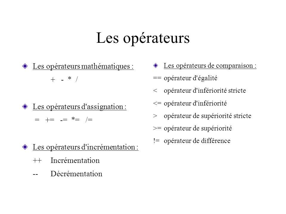 Les opérateurs Les opérateurs mathématiques : + - * /