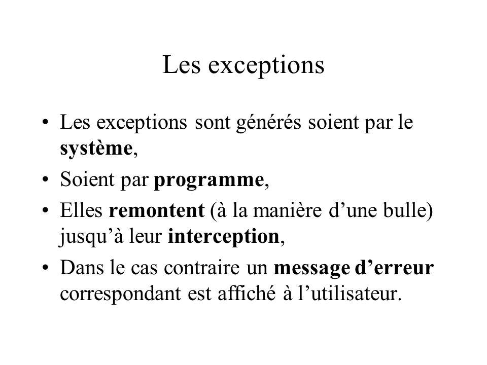 Les exceptions Les exceptions sont générés soient par le système,