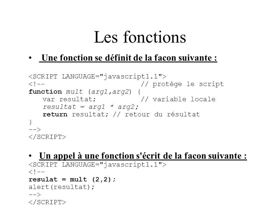 Les fonctions Une fonction se définit de la facon suivante :