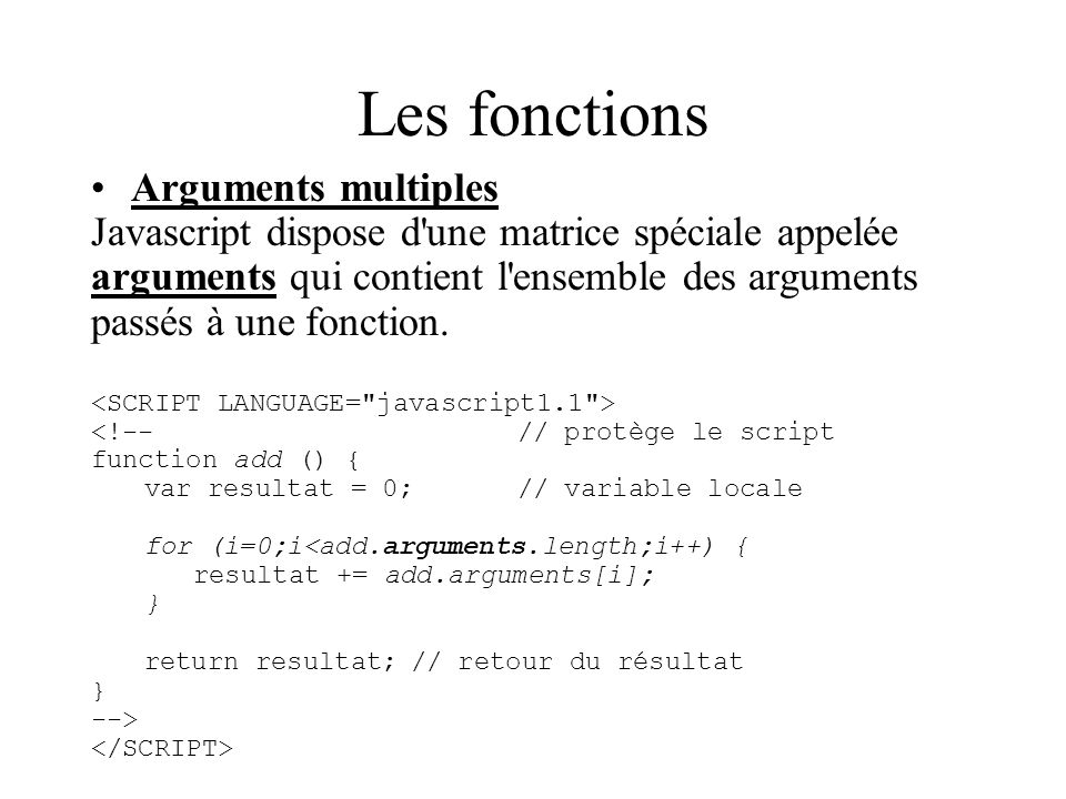 Les fonctions Arguments multiples