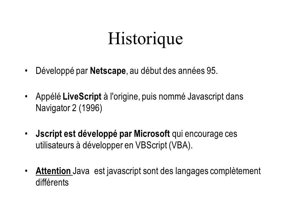 Historique Développé par Netscape, au début des années 95.
