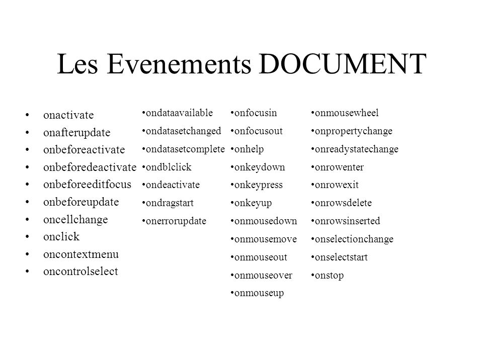 Les Evenements DOCUMENT