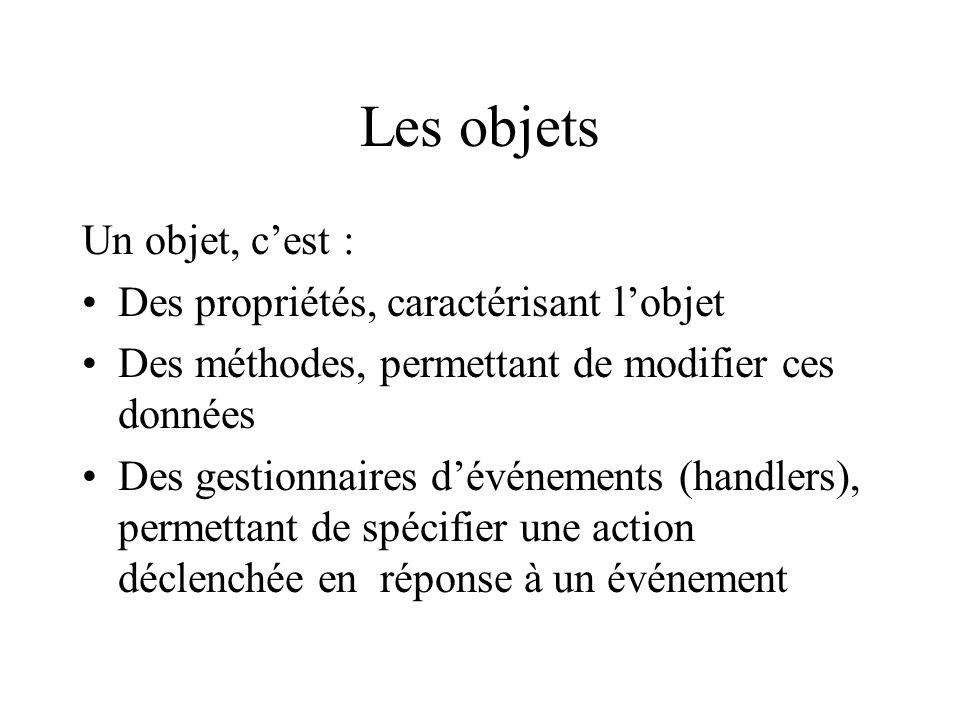 Les objets Un objet, c'est : Des propriétés, caractérisant l'objet