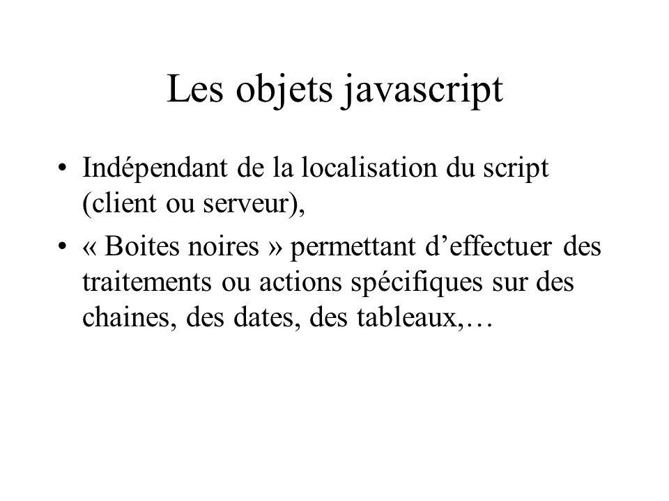 Les objets javascript Indépendant de la localisation du script (client ou serveur),
