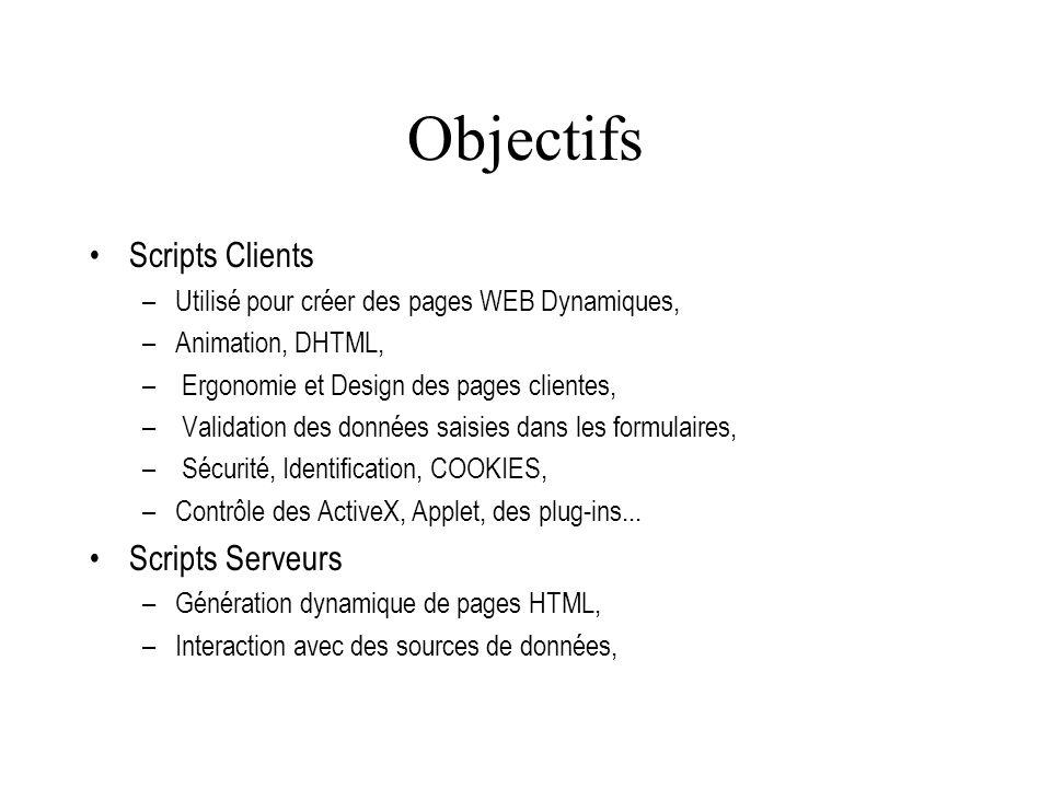 Objectifs Scripts Clients Scripts Serveurs