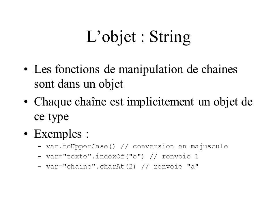 L'objet : String Les fonctions de manipulation de chaines sont dans un objet. Chaque chaîne est implicitement un objet de ce type.