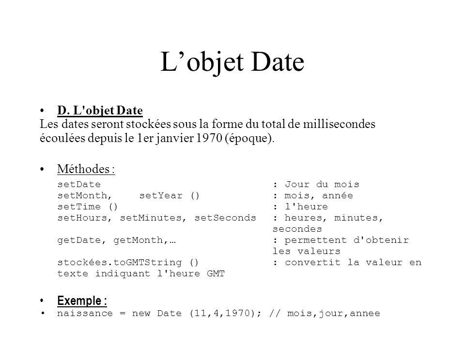L'objet Date D. L objet Date