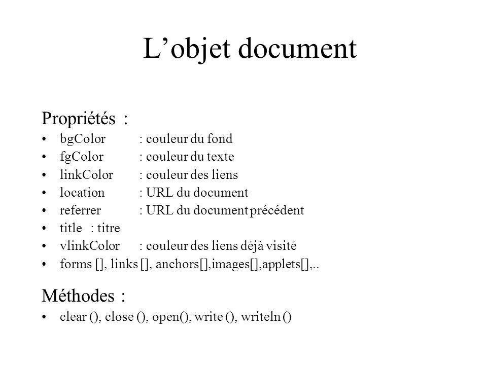 L'objet document Propriétés : Méthodes : bgColor : couleur du fond