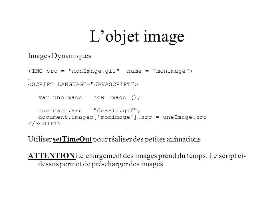 L'objet image Images Dynamiques
