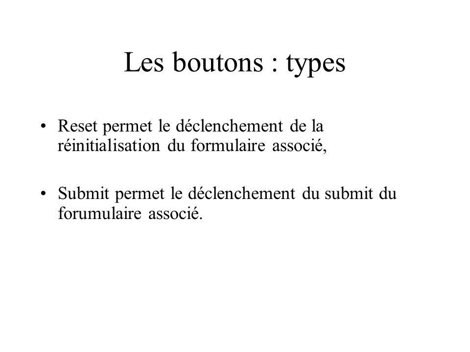 Les boutons : types Reset permet le déclenchement de la réinitialisation du formulaire associé,