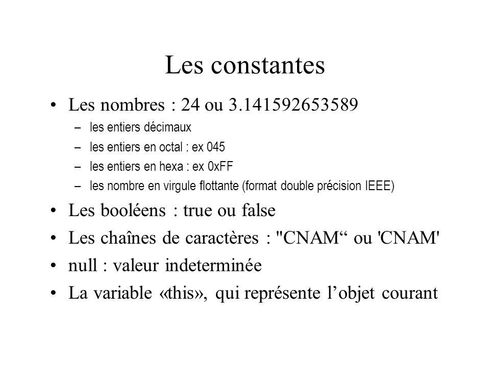 Les constantes Les nombres : 24 ou 3.141592653589