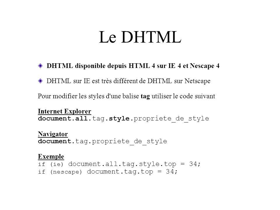 Le DHTML DHTML disponible depuis HTML 4 sur IE 4 et Nescape 4
