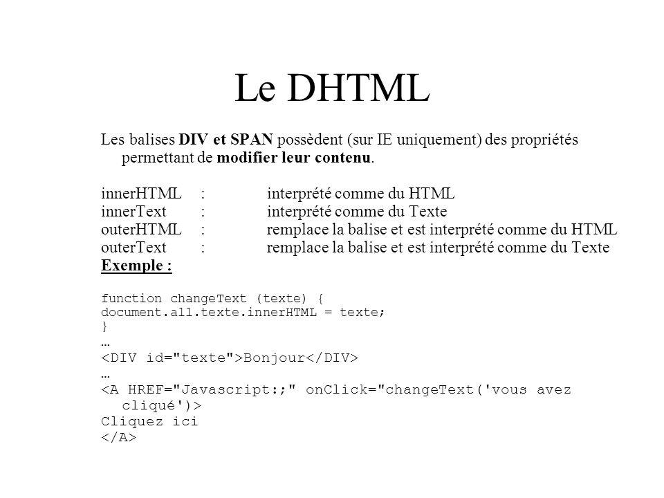 Le DHTML Les balises DIV et SPAN possèdent (sur IE uniquement) des propriétés permettant de modifier leur contenu.