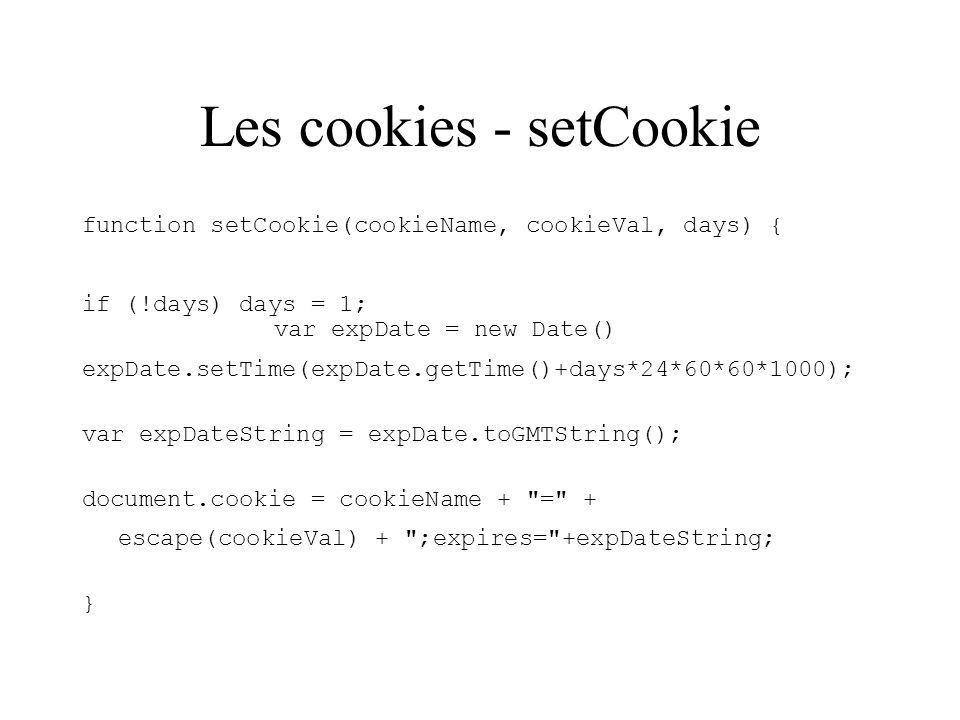 Les cookies - setCookie