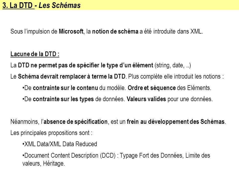 3. La DTD - Les SchémasSous l'impulsion de Microsoft, la notion de schéma a été introduite dans XML.