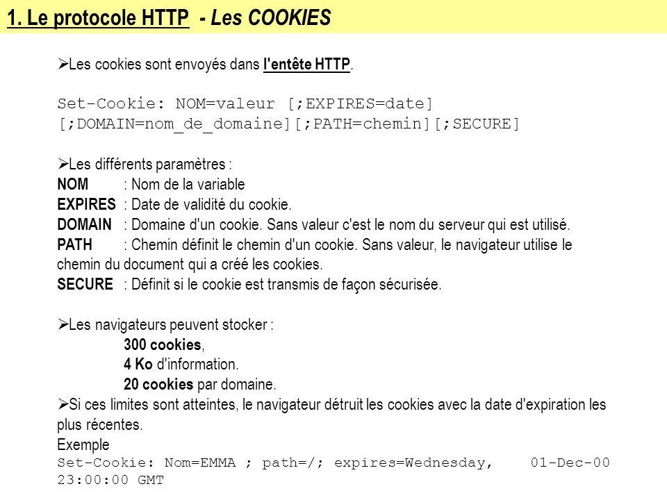 1. Le protocole HTTP - Les COOKIES