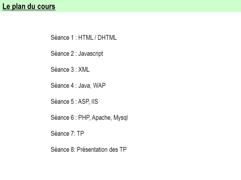 Le plan du cours Séance 1 : HTML / DHTML Séance 2 : Javascript