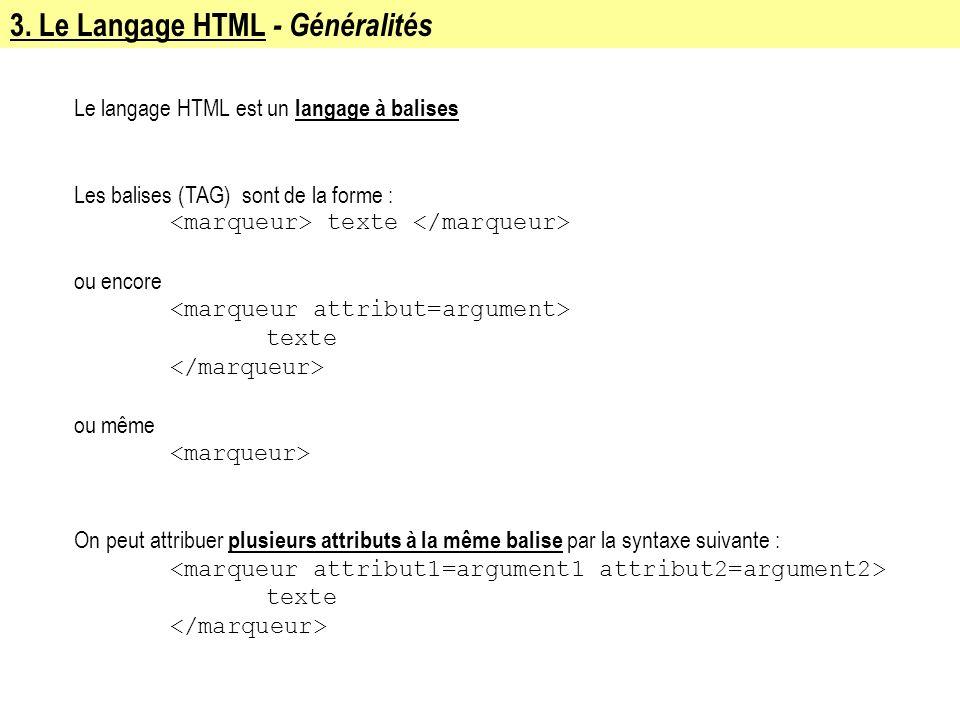 3. Le Langage HTML - Généralités