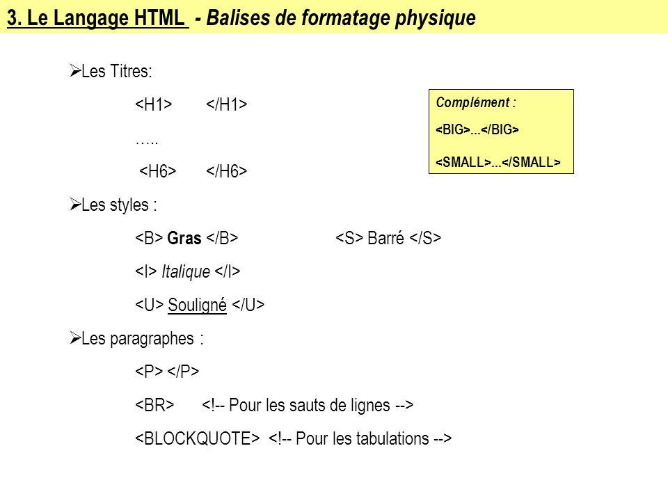 3. Le Langage HTML - Balises de formatage physique