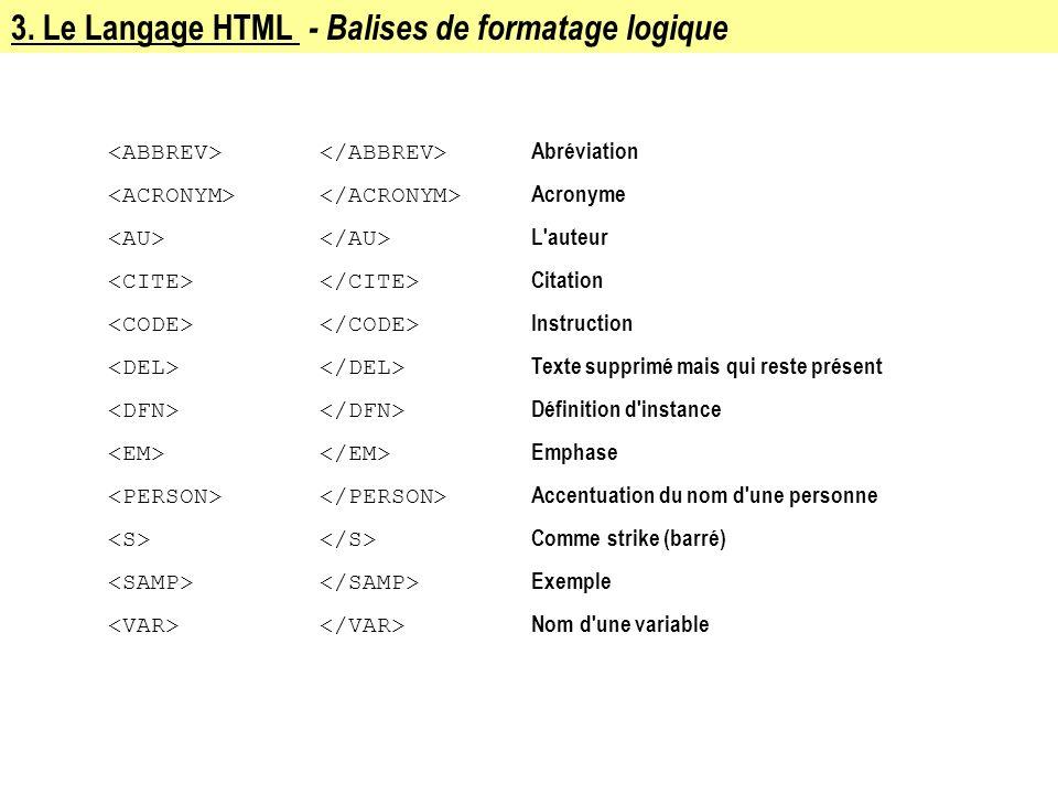 3. Le Langage HTML - Balises de formatage logique
