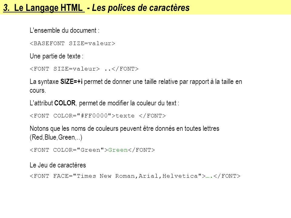 3. Le Langage HTML - Les polices de caractères