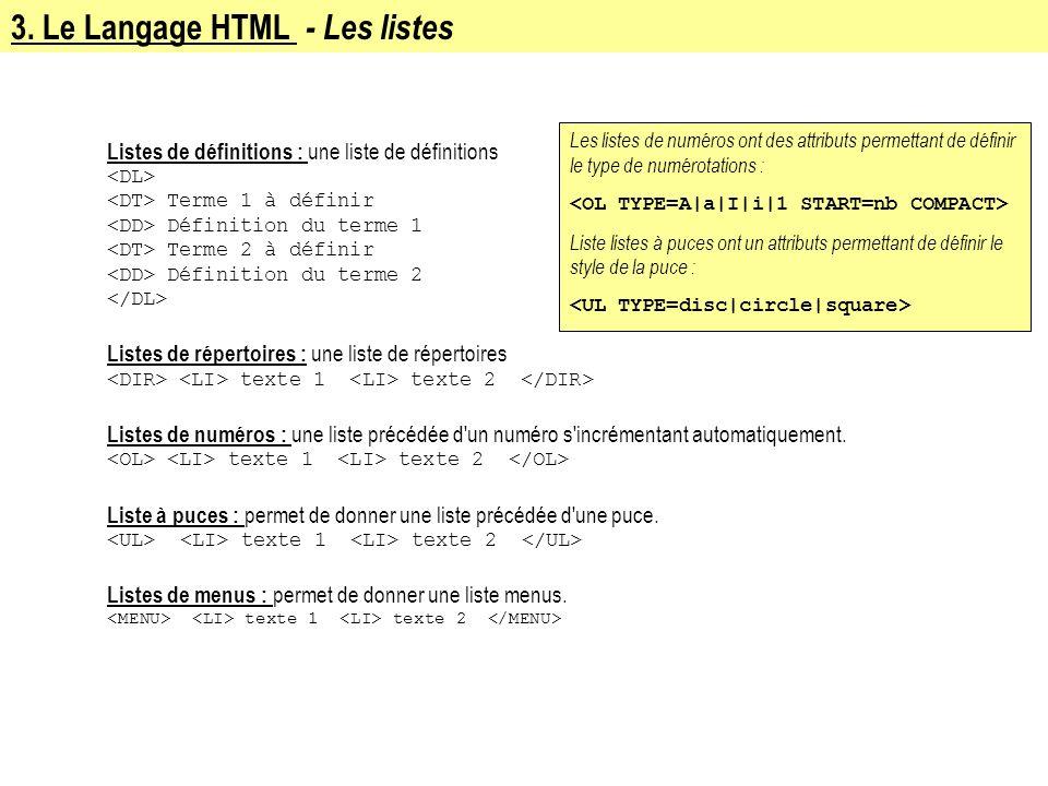 3. Le Langage HTML - Les listes