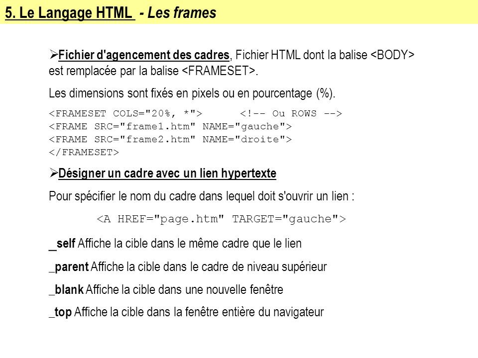 5. Le Langage HTML - Les frames