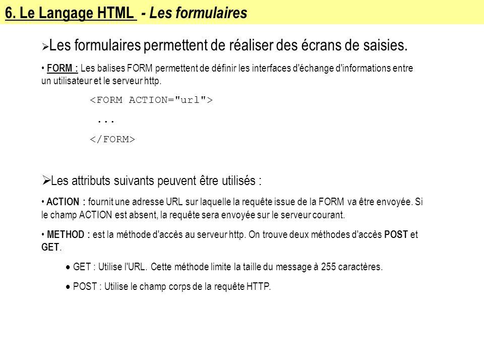 6. Le Langage HTML - Les formulaires