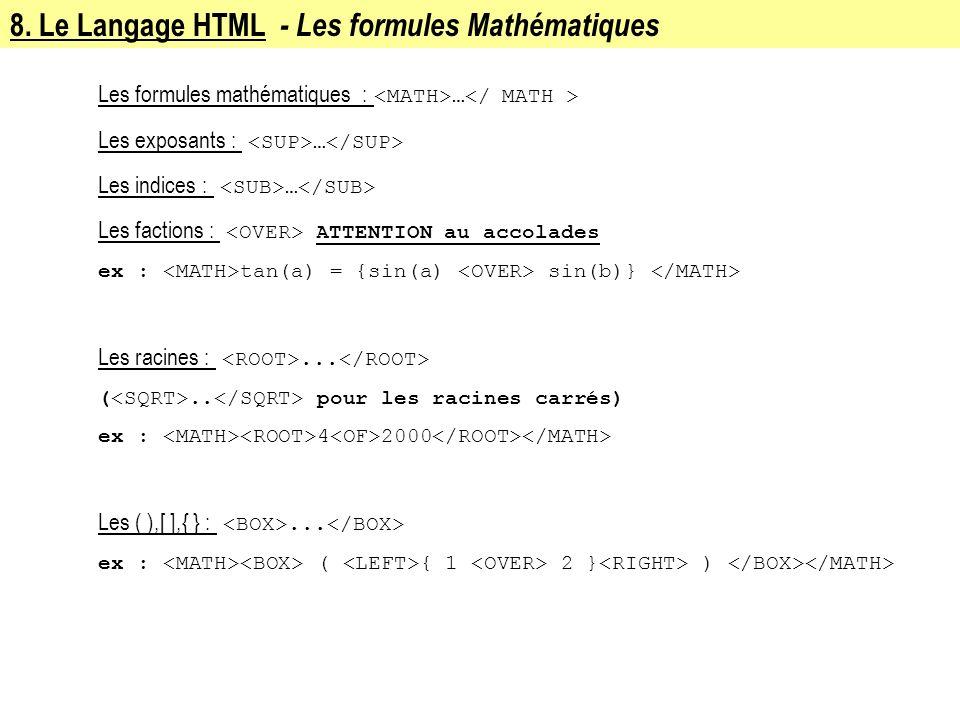 8. Le Langage HTML - Les formules Mathématiques