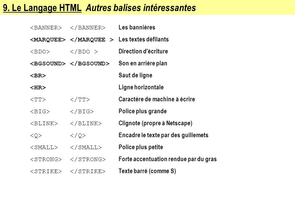 9. Le Langage HTML Autres balises intéressantes