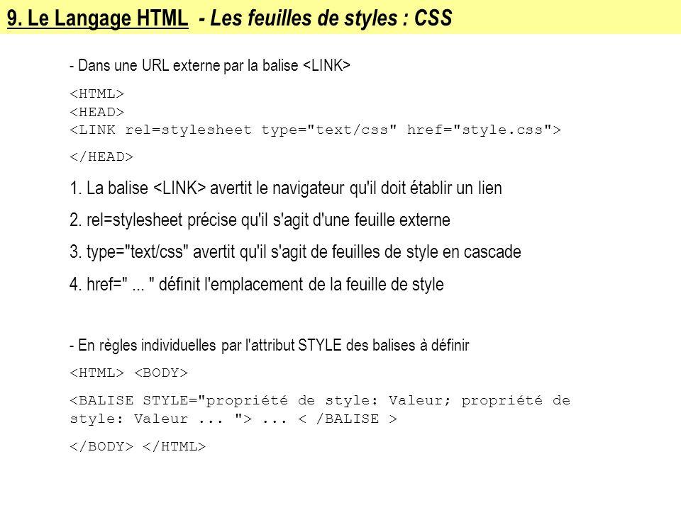 9. Le Langage HTML - Les feuilles de styles : CSS