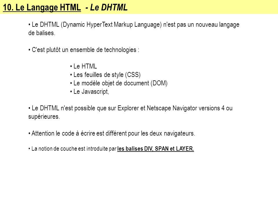 10. Le Langage HTML - Le DHTML