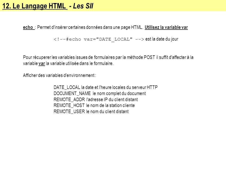 12. Le Langage HTML - Les SII